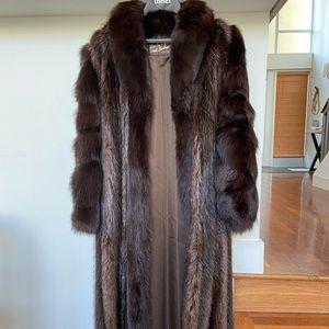 Beaver Fur Coat with Fox Sleeves